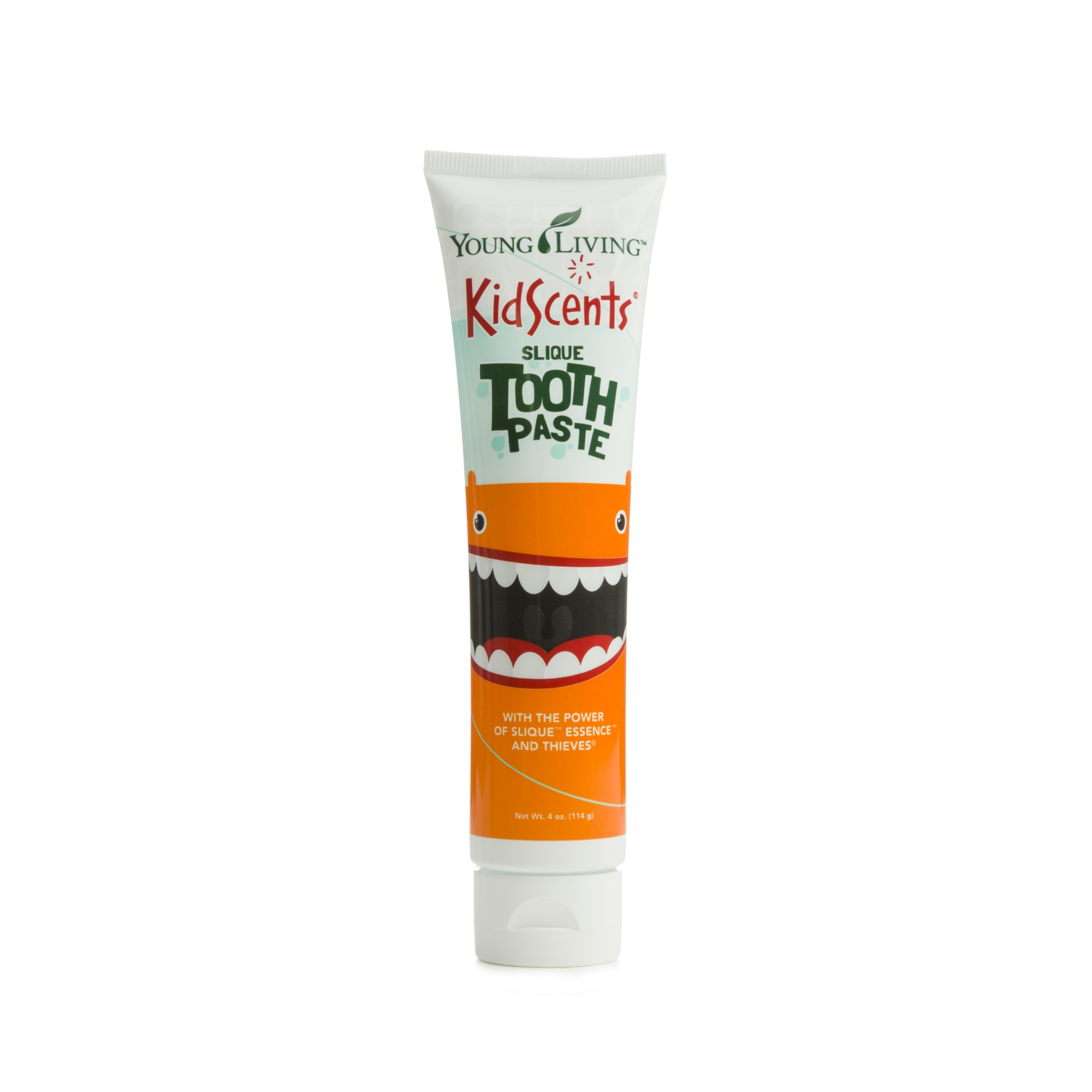 KIDSCENTS TOOTHPASTE    KidScents Slique Toothpaste uses Thieves and Slique Essence essential oil blends to gently clean and protect teeth. This safe and effective blend promotes healthy teeth without the use of fluoride, dyes, synthetic colors, artificial flavors, or preservatives. It has a great kid-friendly flavor, which is sure to make teeth-brushing time fun for your child!   Click here   to learn more about this product.