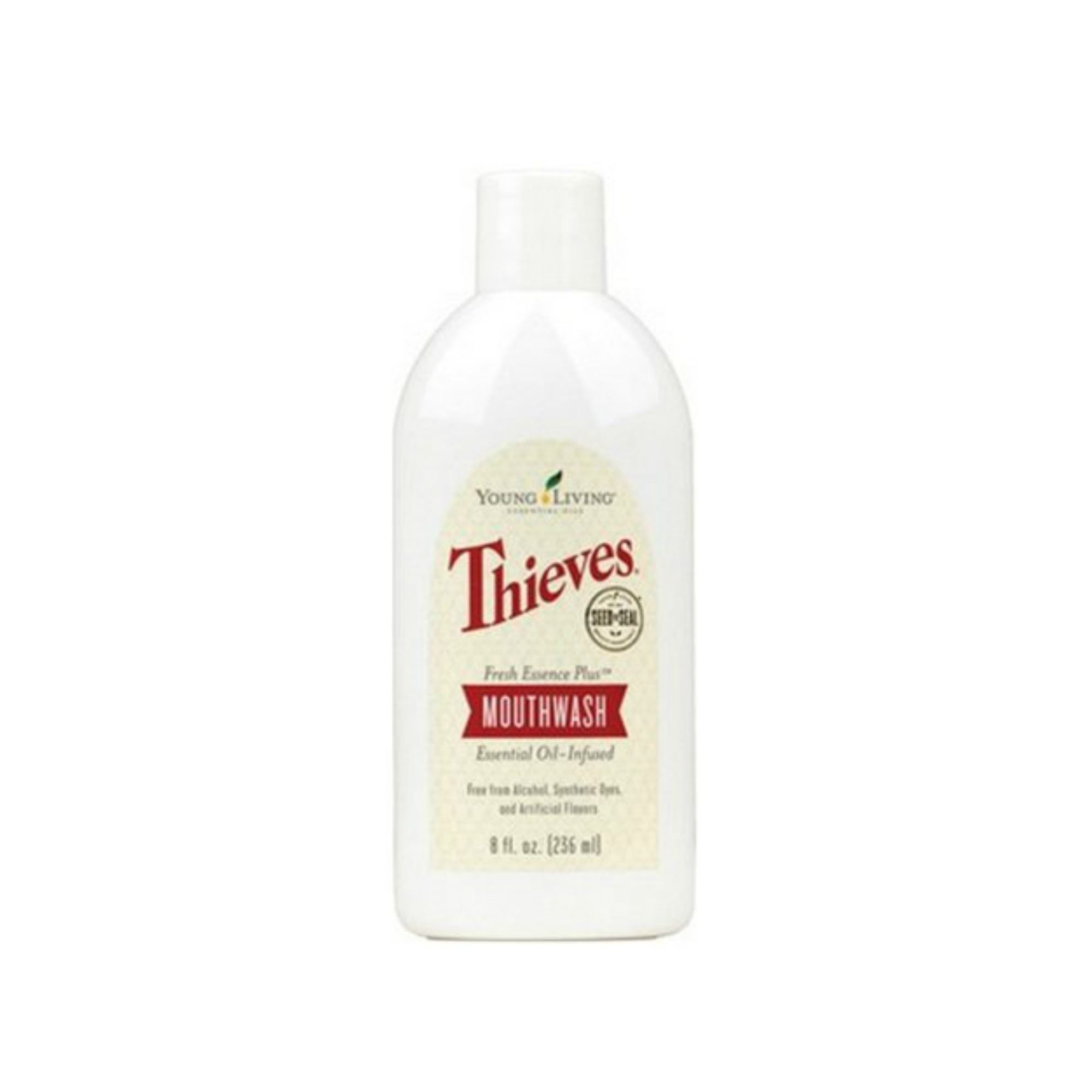 THIEVES MOUTHWASH    Thieves Fresh Essence Plus Mouthwash freshens and provides a whole-mouth clean using the signature Thieves oil blend, a carefully crafted mix of Clove, Lemon, Cinnamon Bark, Eucalyptus, and Rosemary essential oils. Your teeth and gums will benefit from an invigorating clean that's free from harsh alcohol and artificial dyes and flavors.   Click here   to learn more about this product.
