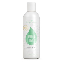 DRAGON TIME BATH & SHOWER GEL    Geranium, Tangerine, Sage, and Clary Sage essential oils are combined with Young Living's Bath & Shower Gel Base to bring you this calming and soothing shower gel. This is great for women who are going through PMS or menopausal stages.   Click here   to learn more about this product.
