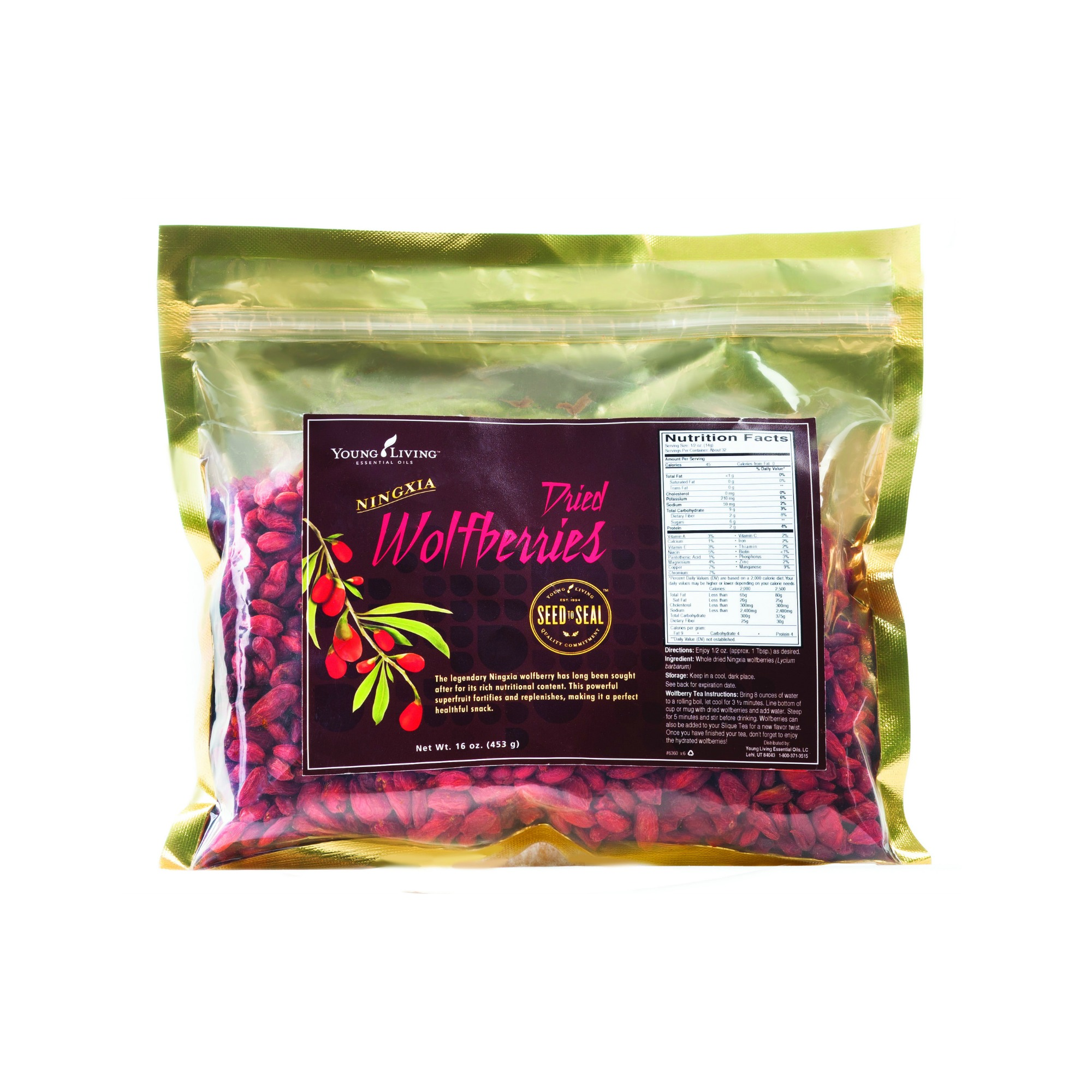 ORGANIC DRIED WOLFBERRIES    Young Living's Organic Dried Wolfberries are a sweet, organic snack from nature that's easy to make a part of your daily diet. Our gentle drying process makes these USDA-certified organic wolfberries versatile and easy to incorporate into lots of recipes, letting you add wolfberry benefits to anything from stir-fry to baked goods! With polyphenols and polysaccharides, this exotic berry is touted around the world for its taste and nutrients. Documented use of wolfberries dates back to the Ming Dynasty, where they were part of ancient Chinese culture.   Click here   to learn more about this product.