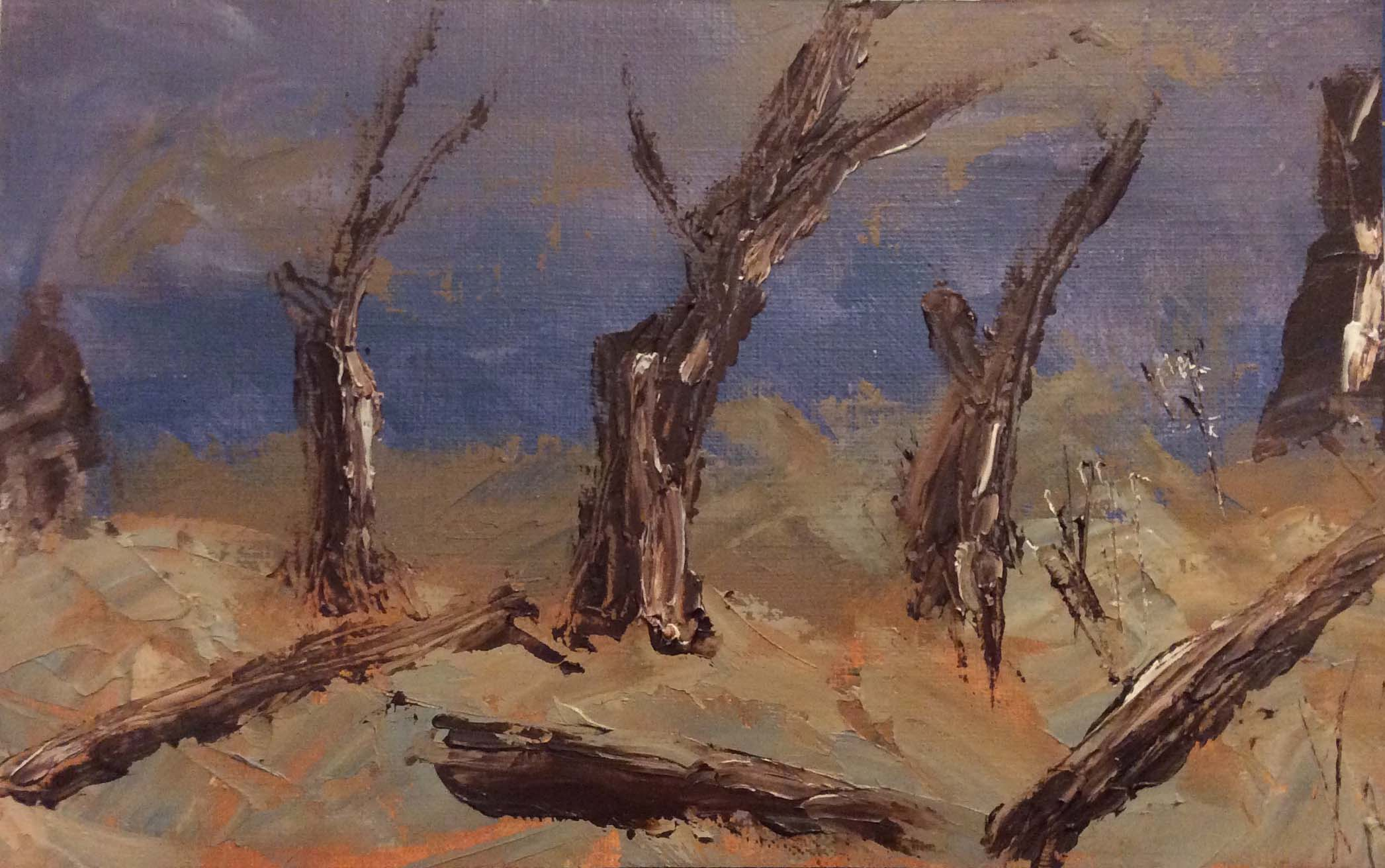 Cottonwoods. Oil paint & Cold wax. 5 x 8 inches on canvas paper.