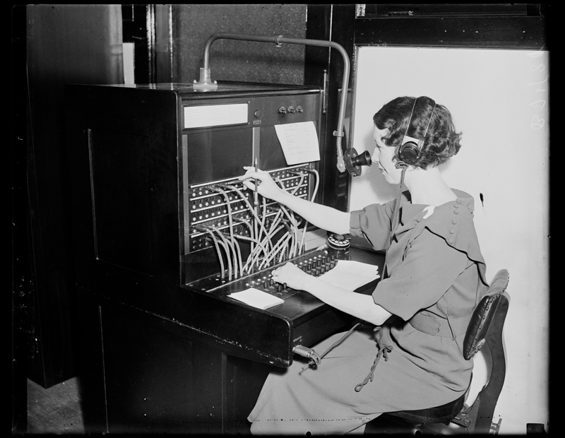 Harris & Ewing, photographer. (1935) Woman Working at Switchboard. United States United States, 1935. [Photograph] Retrieved from the Library of Congress, https://www.loc.gov/item/2016880884/ .