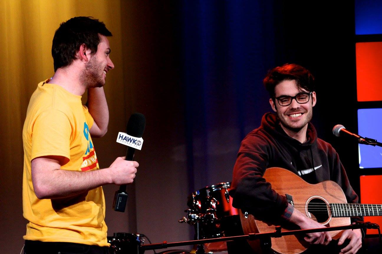 From left to right: Dylan McGilloway of HawkTV and Jake Ewald of Modern Baseball