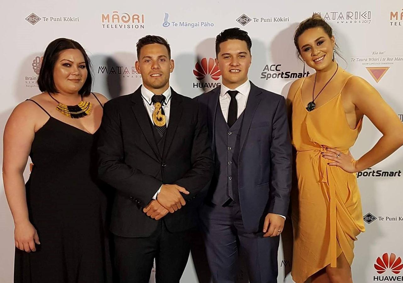 Te Whare Hukahuka team members at the Matariki Awards 2017.