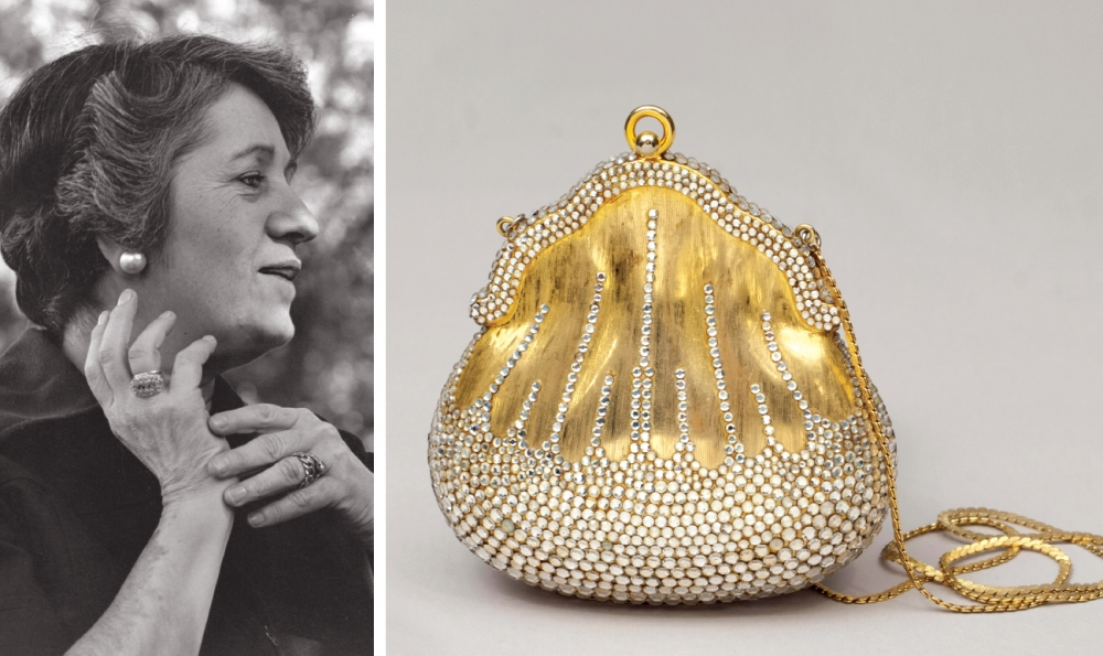 Judith Leiber and the Chatelaine, the first crystal minaudiere she ever designed.