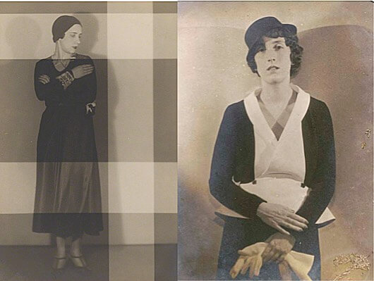 Marie-Laure Noailles  (right) by Man Ray;  Elsa Schiaparelli (left)