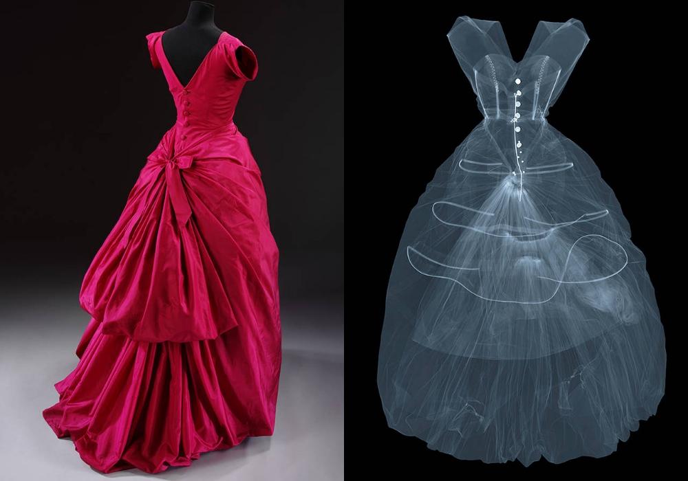 X-ray photograph of silk taffeta evening dress by Cristóbal Balenciaga, 1955, Paris, France. X-ray by Nick Veasey, 2016. © Nick Veasey
