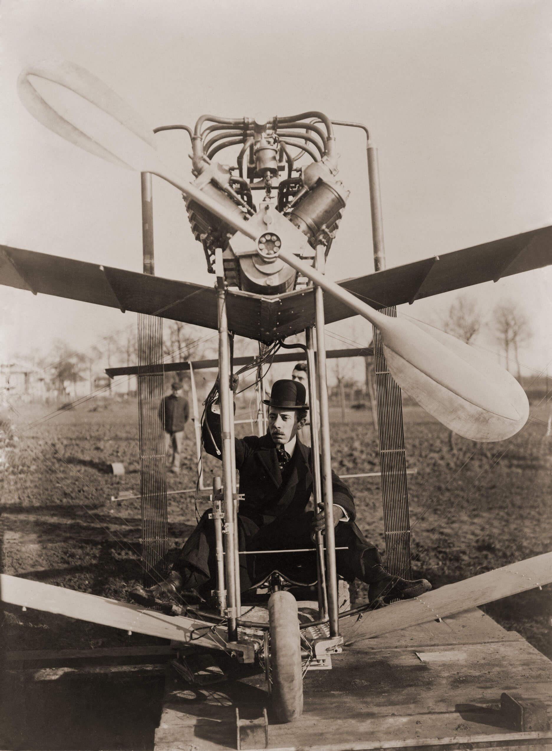 Alberto Santos-Dumont aboard his airplane No. 15, in 1907.Cartier Archives © Cartier