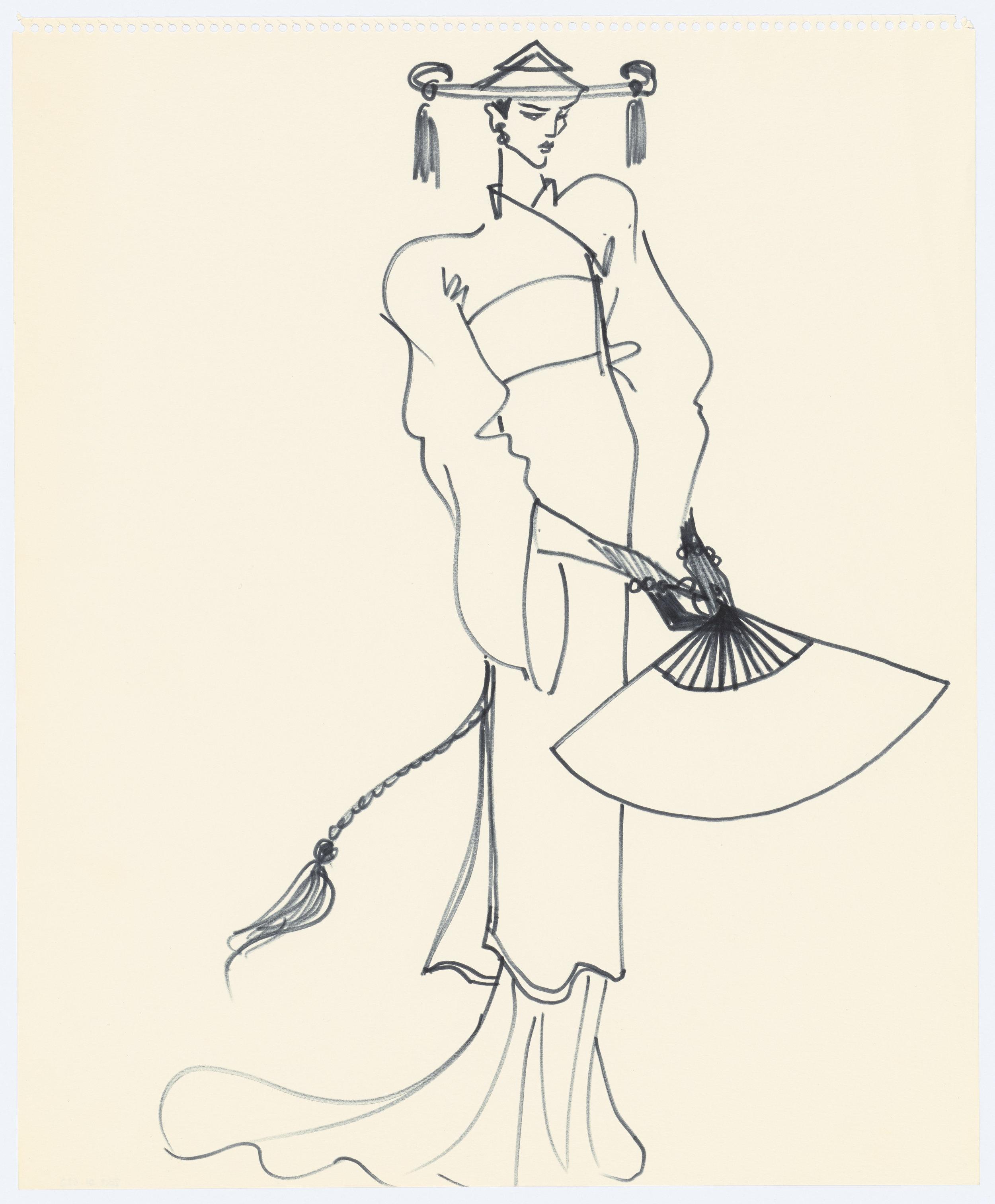 01 - Croquis de recherche autour du lancement du parfum Opium, vers 1978, Musée Yves Saint Laurent Paris © Fondation Pierre Bergé - Yves Saint Laurent _ Tous droits réservés.jpg