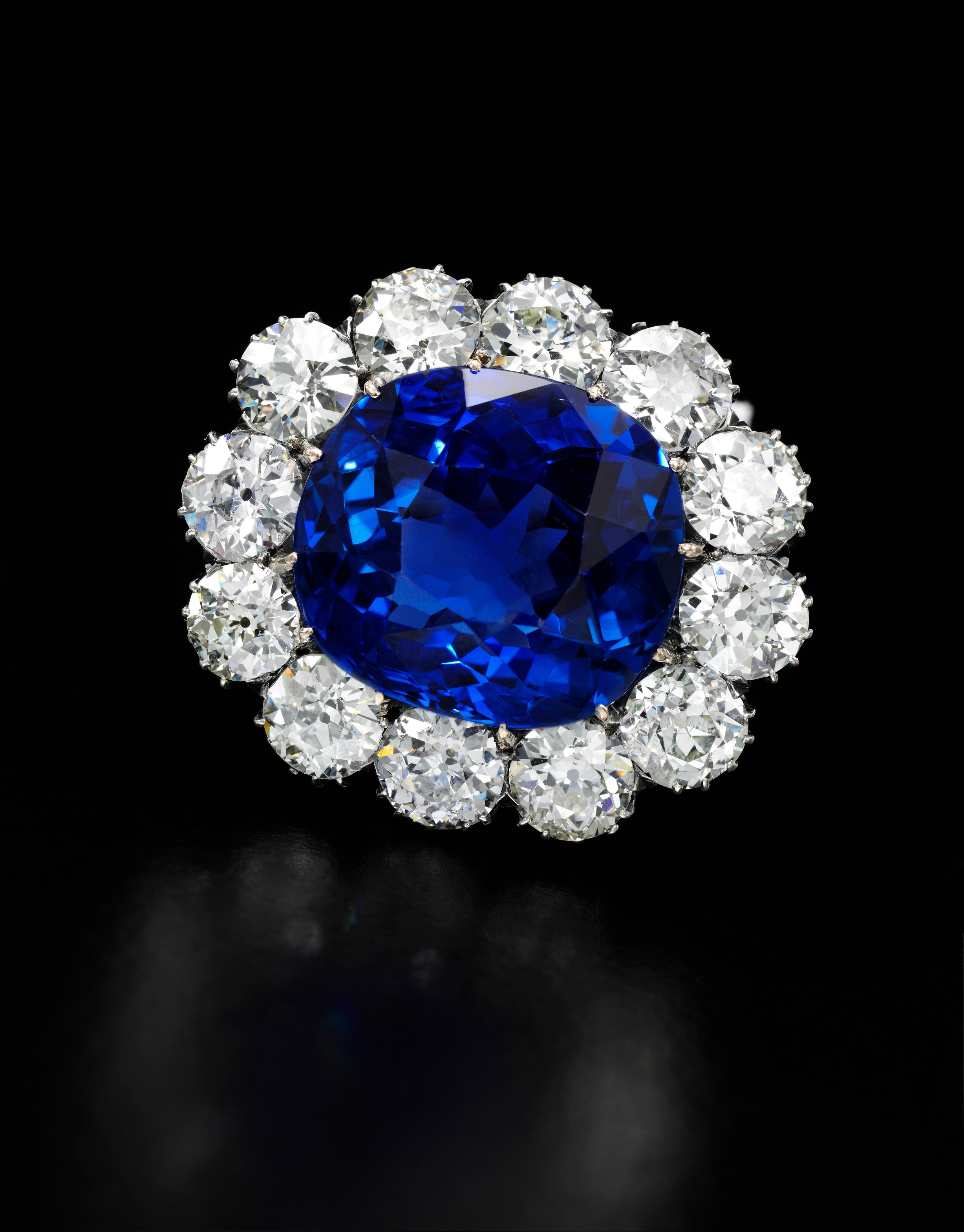 Impressive sapphire and diamond brooch -  on black -Royal Jewels from the Bourbon Parma Family - Sotheby's 14 November 2018.jpg