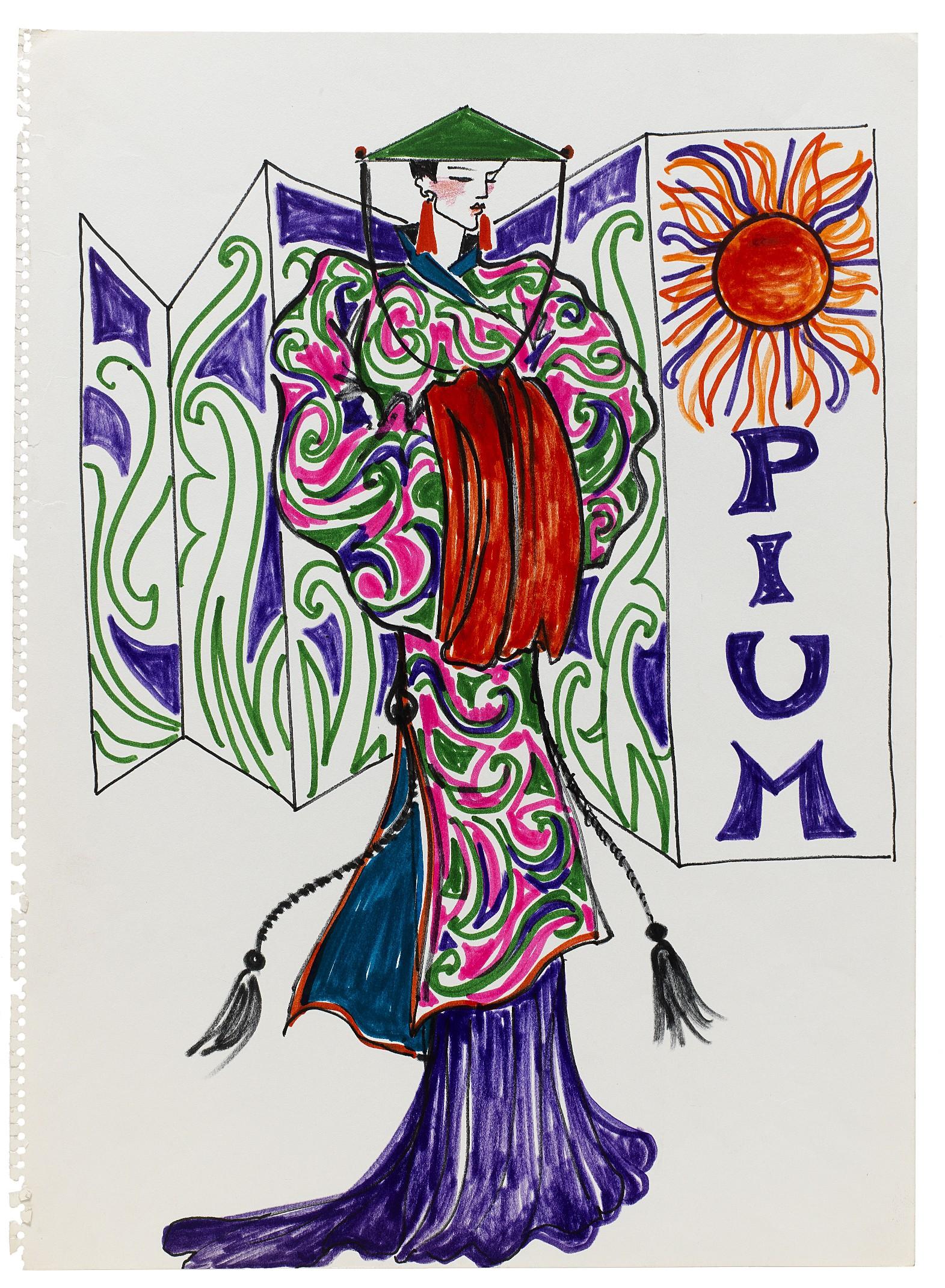 11 - Croquis de recherche autour du lancement du parfum Opium, vers 1978, Musée Yves Saint Laurent Paris © Fondation Pierre Bergé - Yves Saint Laurent _ Tous droits réservés.jpg