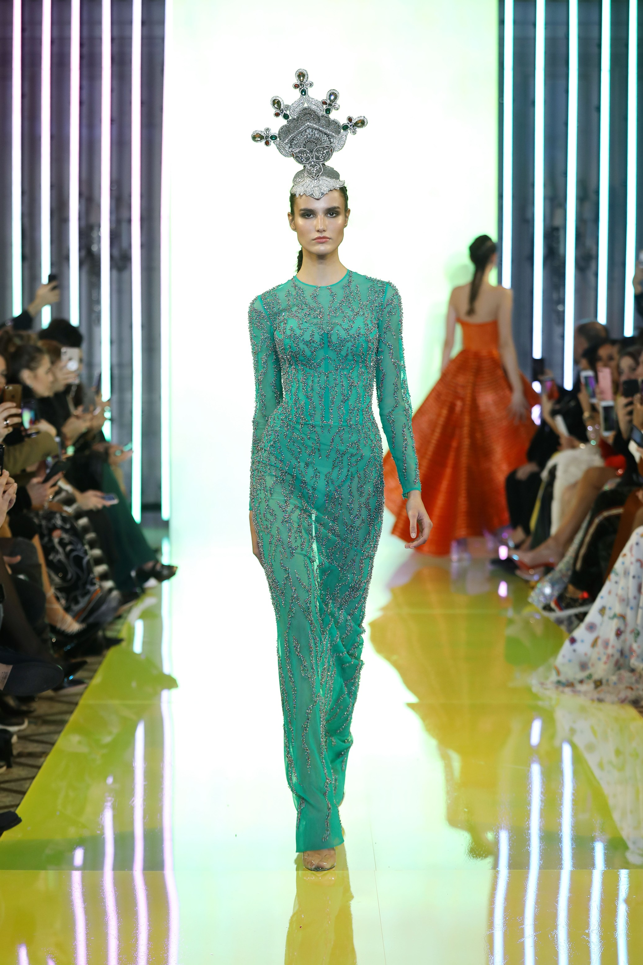 SS19-14 Petrol Green Long Dress Embellished With Colored Swarovski Crystals And Beads .jpg