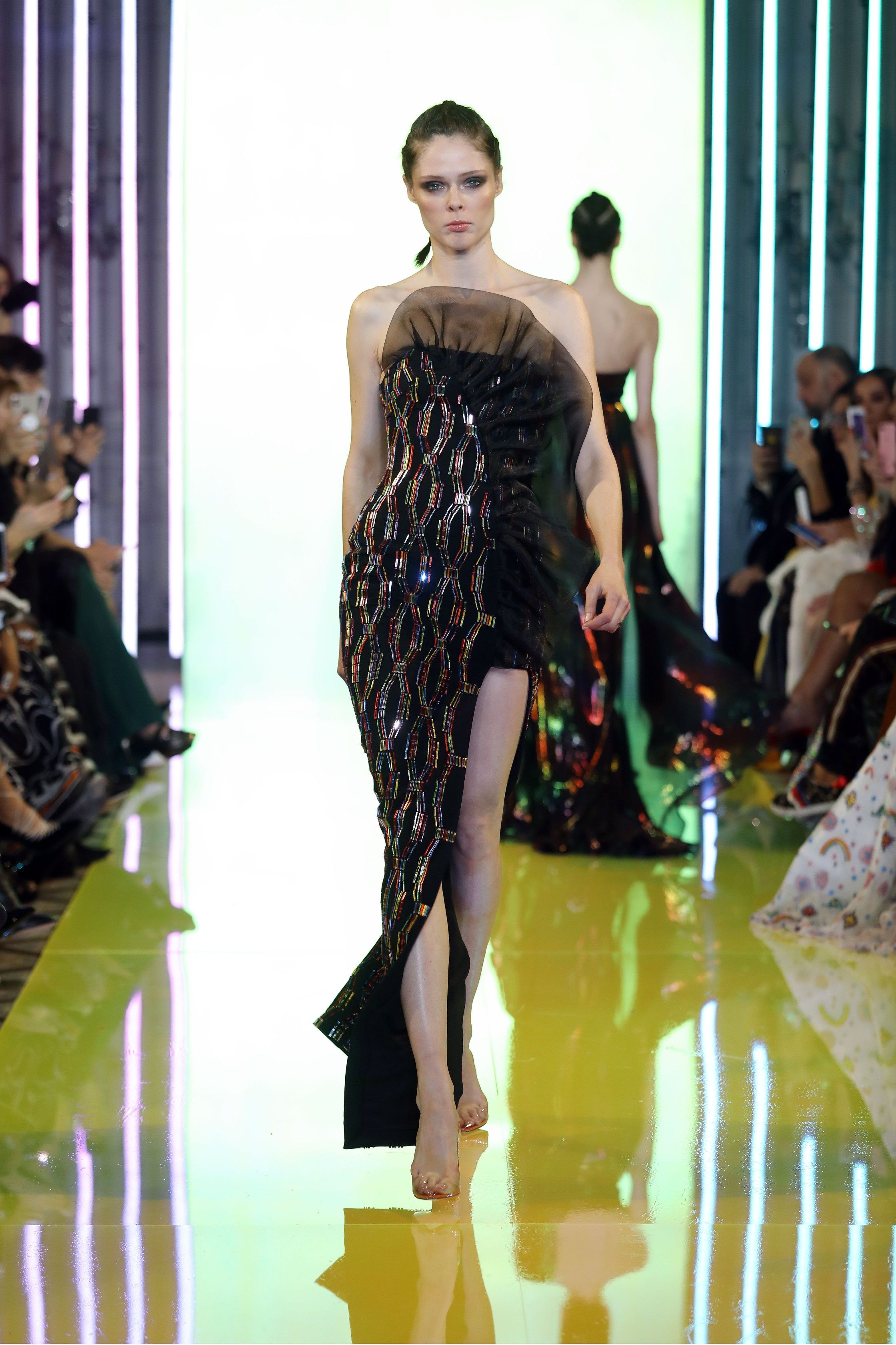 SS19-20- Black Gown Embellished With Colored Laser-Cut Mirrors Featuring A Structured Organza Side Ruffle And Slit .jpg