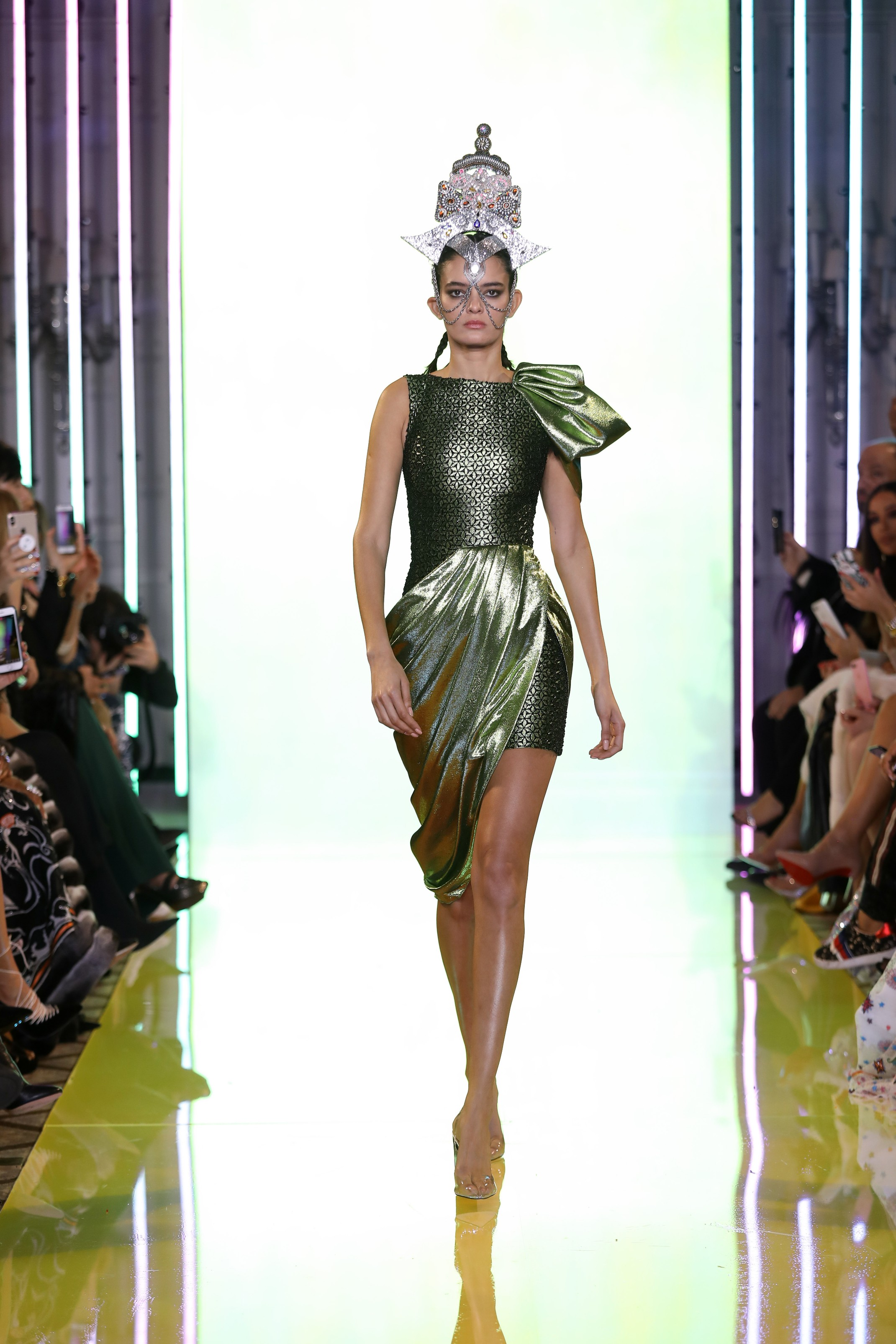 SS19-29- Olive Green Asymmetric Gown Featuring A Tulip Skirt And Boat Neck Top Embellished With Black Beads .jpg