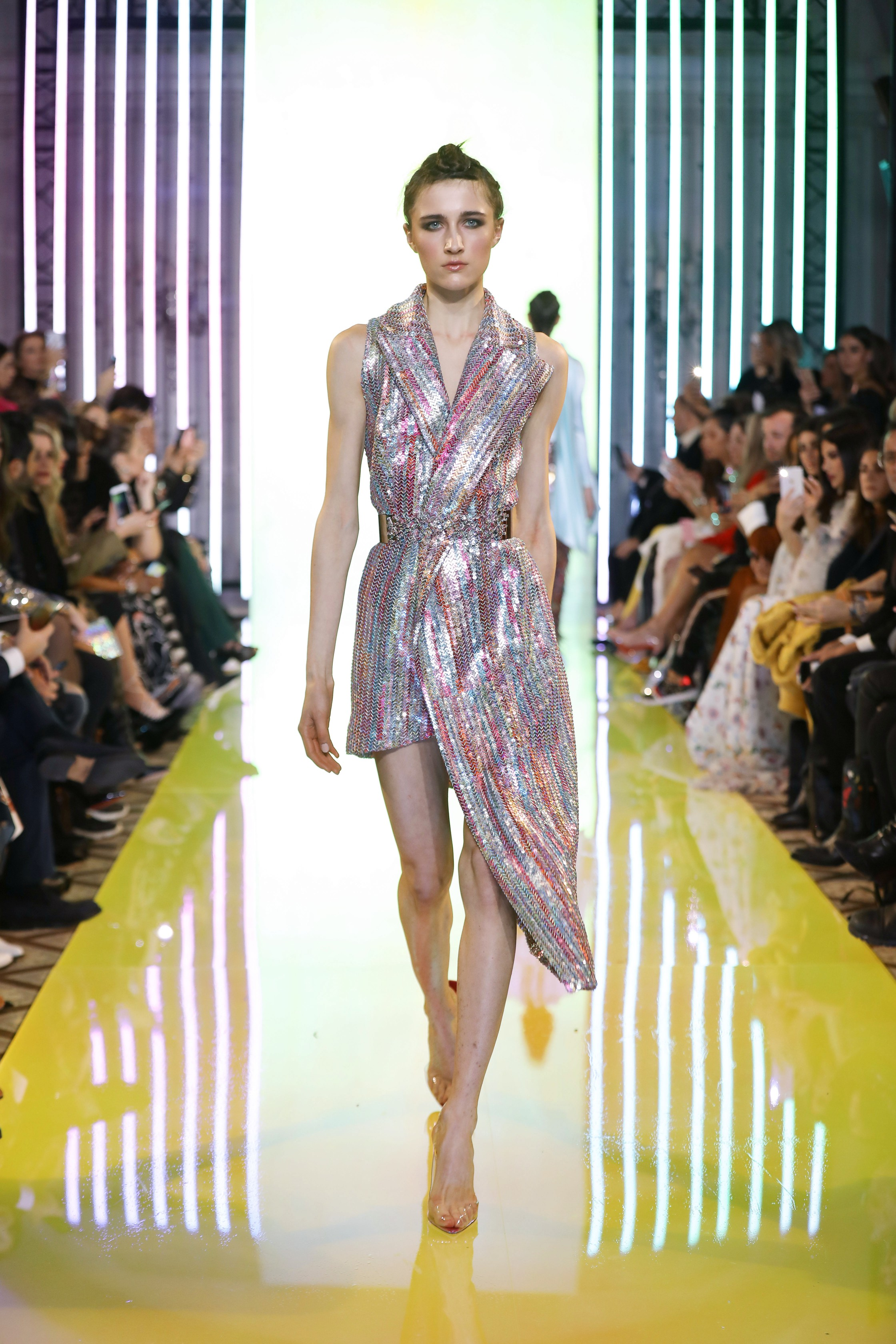 SS19-36- Pastel Metallic Asymmetric Tailleur Dress Featuring Holographic Colored Sequins And Silver Scroll Sequins .jpg