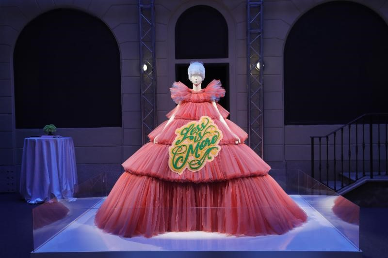 Viktor + Rolf ensemble on display at The Met's   Camp: Notes on Fashion   advance press event. Photo Vittorio Zunino Celotto / Getty Images for The Metropolitan Museum of Art.