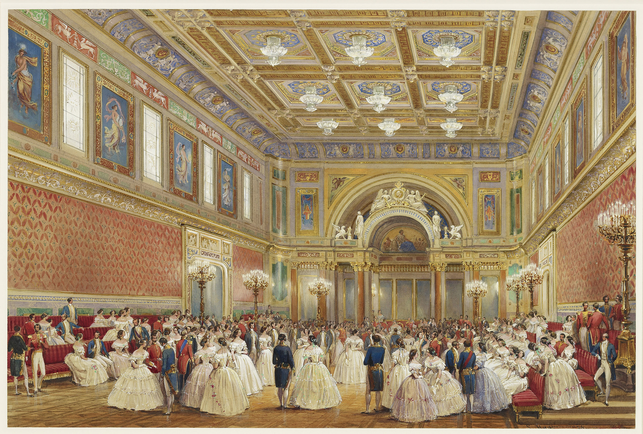 The Ballroom, Buckingham Palace by Louis Haghe.For use only in connection with reporting on 'Queen Victoria's Palace', the special exhibition at this year's Summer Opening of Buckingham Palace 20 July - 29 September 2019. Not to be archived or sold on. Image credit Royal Collection Trust/ © Her Majesty Queen Elizabeth II 2019