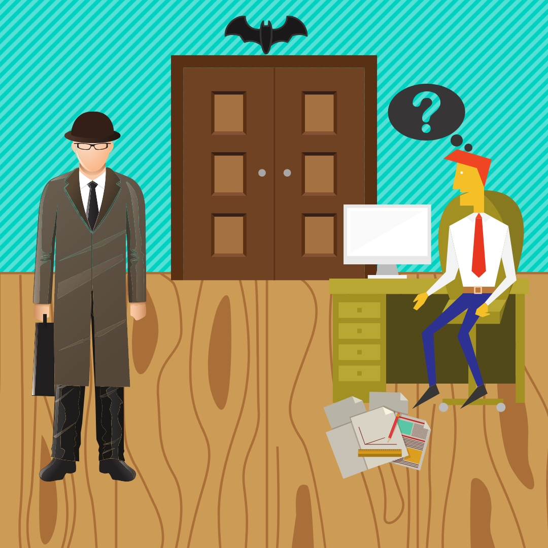 Our sleuth asks the inept intern about missing papers.