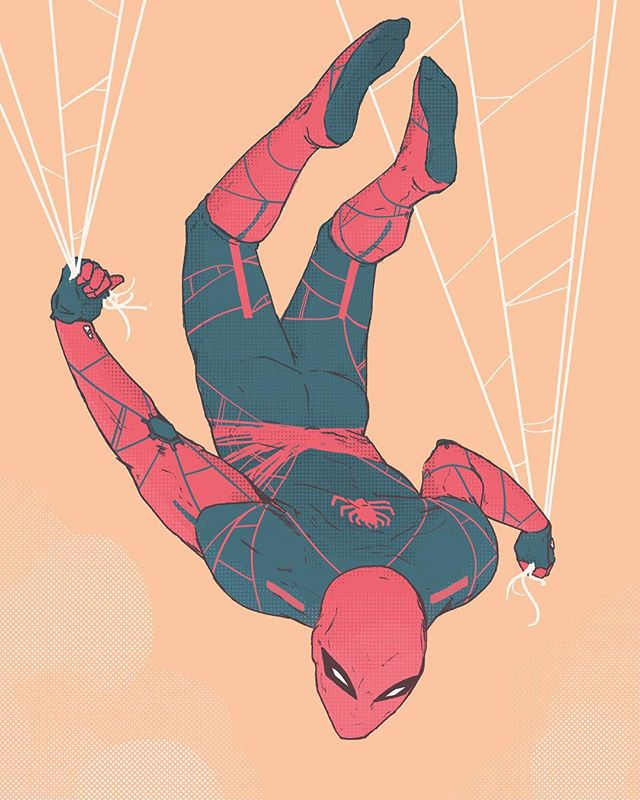 """As I've grown up, I've drawn Spider-Man a few times. Admittedly, I've always thought the traditional design was pretty tedious drawing all of those webs. I decided to take it upon myself to design my own suit. One that livens up the drawing hand and is a bit more expressive. Of course, this """"Spider-verse season"""" is the best time to contemplate alternate design. Go see it if you haven't!! (P.S. I'm still drawing, just can't share it right now :() LOVE YOU!!! . . . . . . . #spiderman #spiderverse #web #marvel #fanart #comics #peterparker #derekwk #digitalart #conceptart #alternateuniverse #wacom #kylebrush #halftone"""