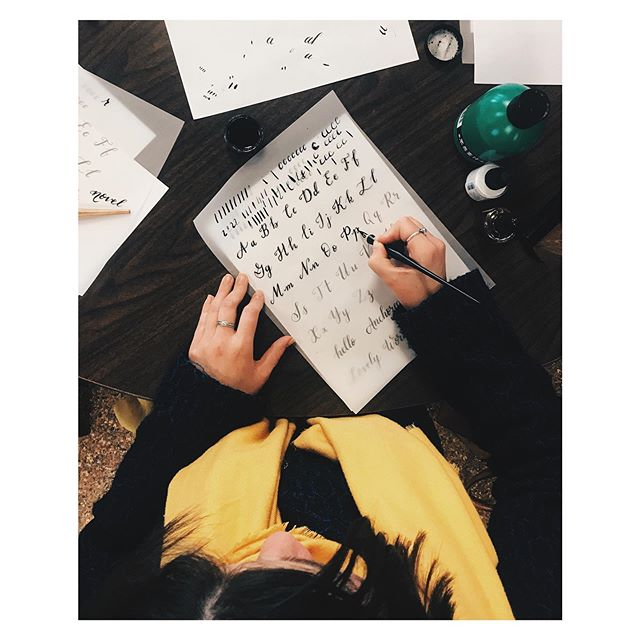 "I've gotten to teach a little bit of what I know about calligraphy twice in an organized setting. But my favorite thing is when people randomly ask ""how'd you do that?"" or ""can you teach me?"" ✨There is nothing more valuable than equipping someone to create - whether they're making art or airplanes, bouquets or bridges. ✨May we be generous with our knowledge and willing to share freely what may have cost us much to learn. #createdtocreate #teachersofinstagram"