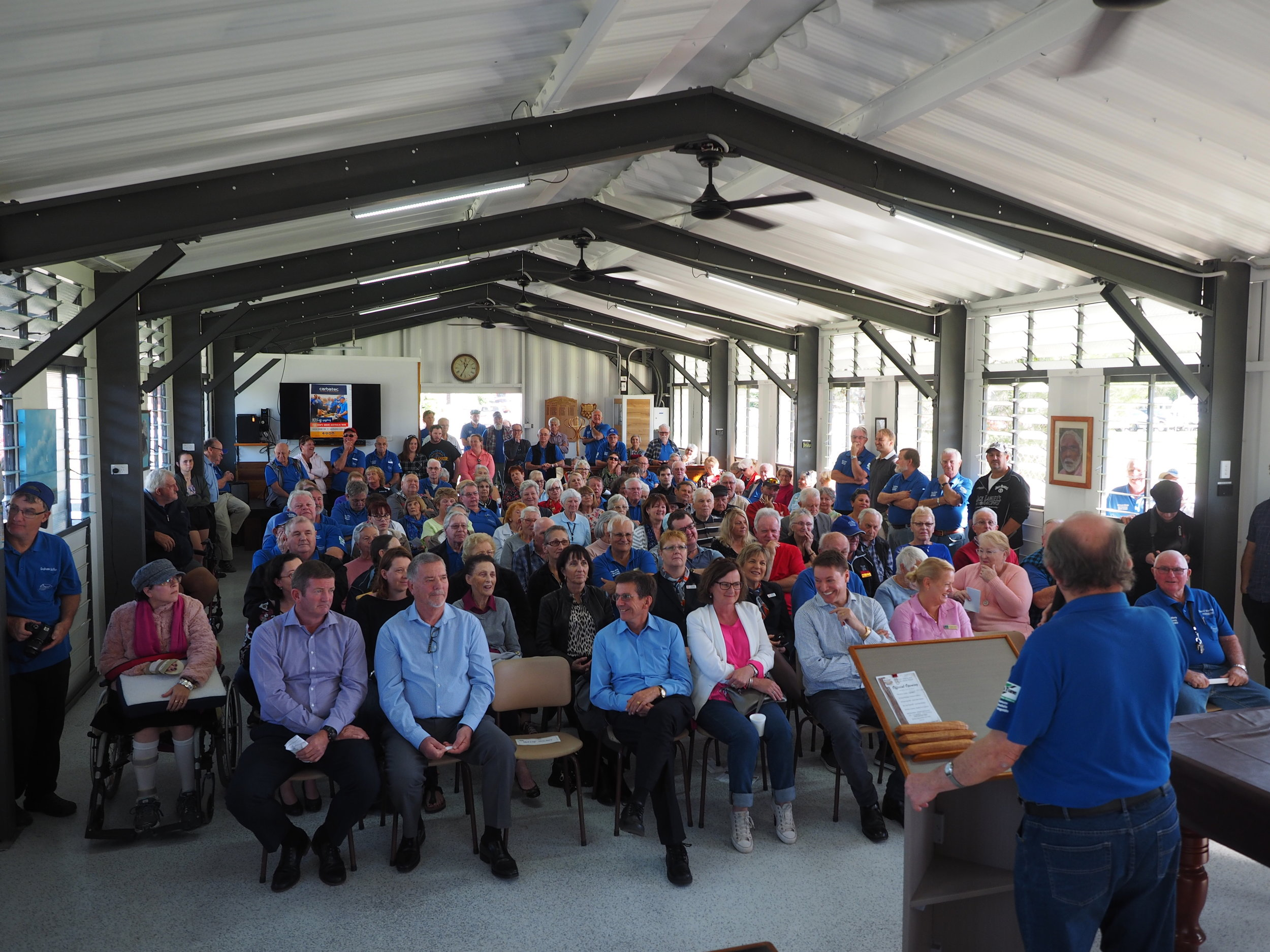 Attendance at the Wynnum Manly and Districts Men's Shed for the naming of the Allen May building. August 2018.