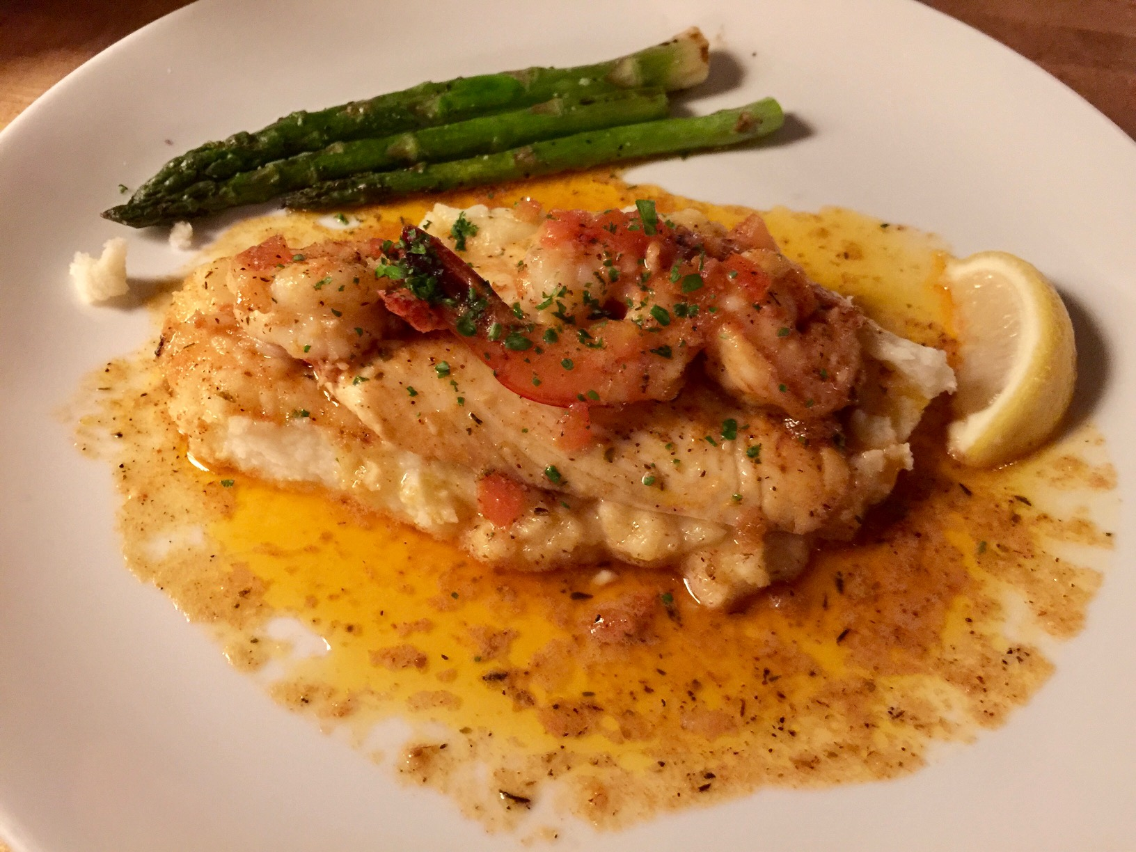 Cajun Cod and Shrimp with Mashed Potatoes