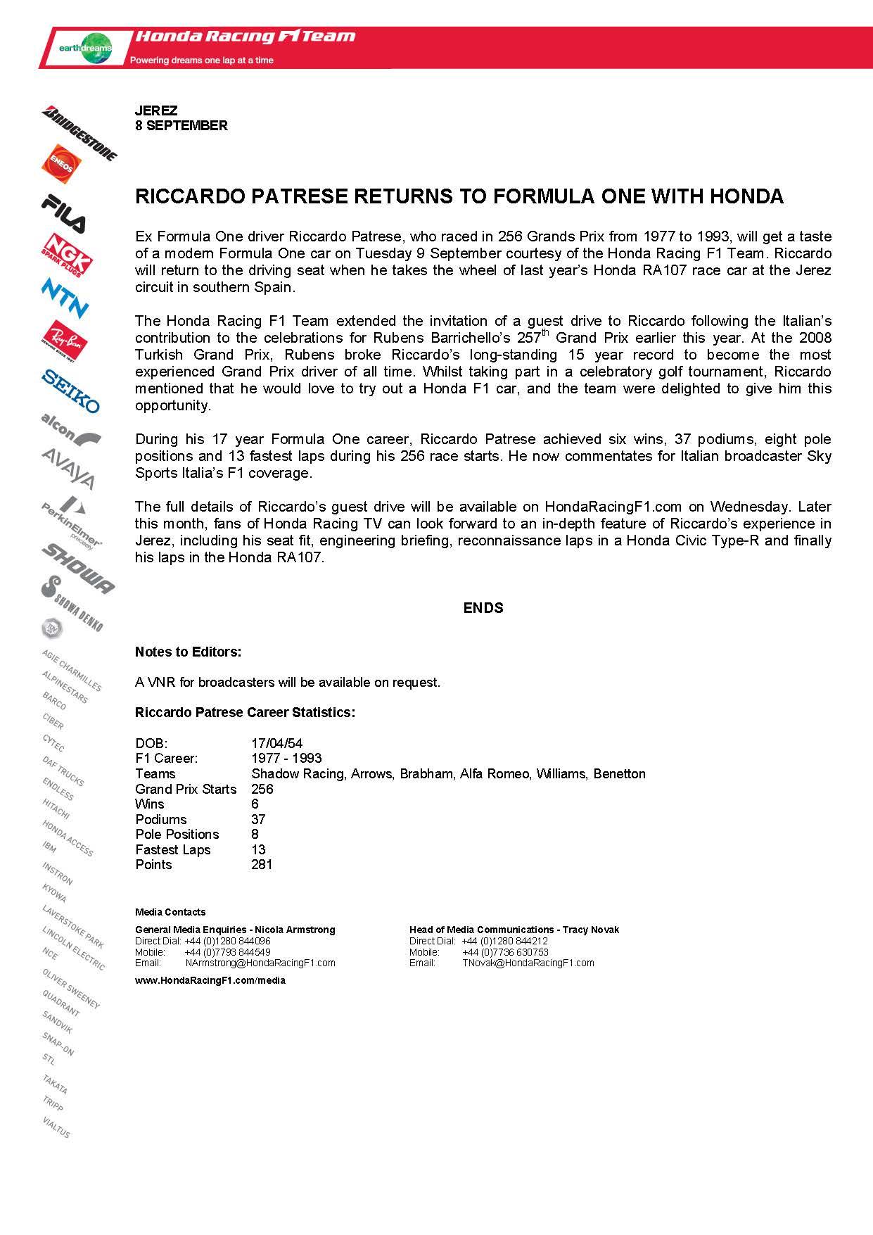 Riccardo Patrese Returns To Formula One With Honda.jpg