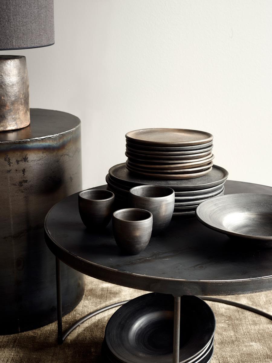 Arrondissement Iron Round Table & Black Reduced Ceramics
