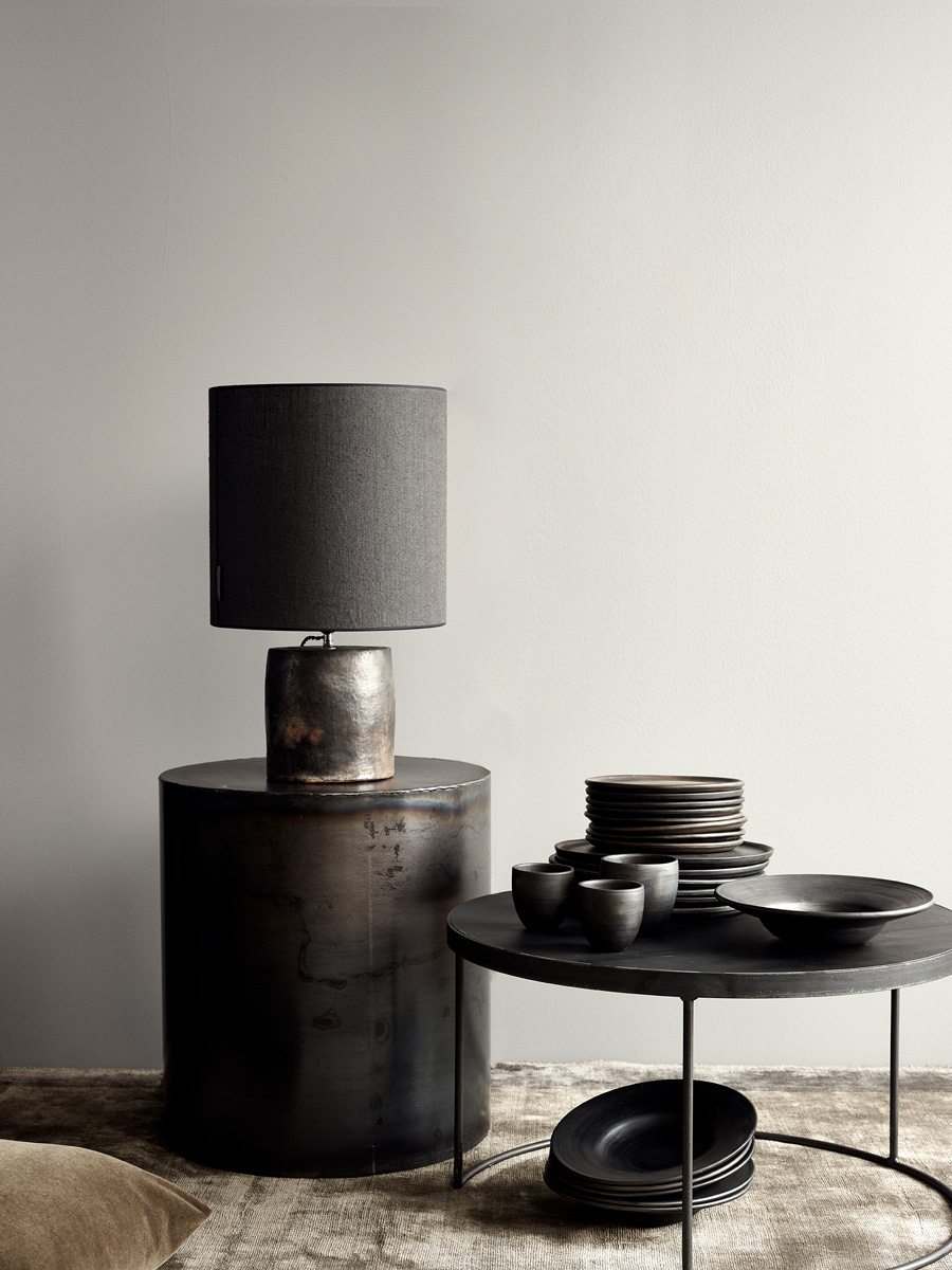 Noir Lamp and Arrondissement Iron Cylinder Table