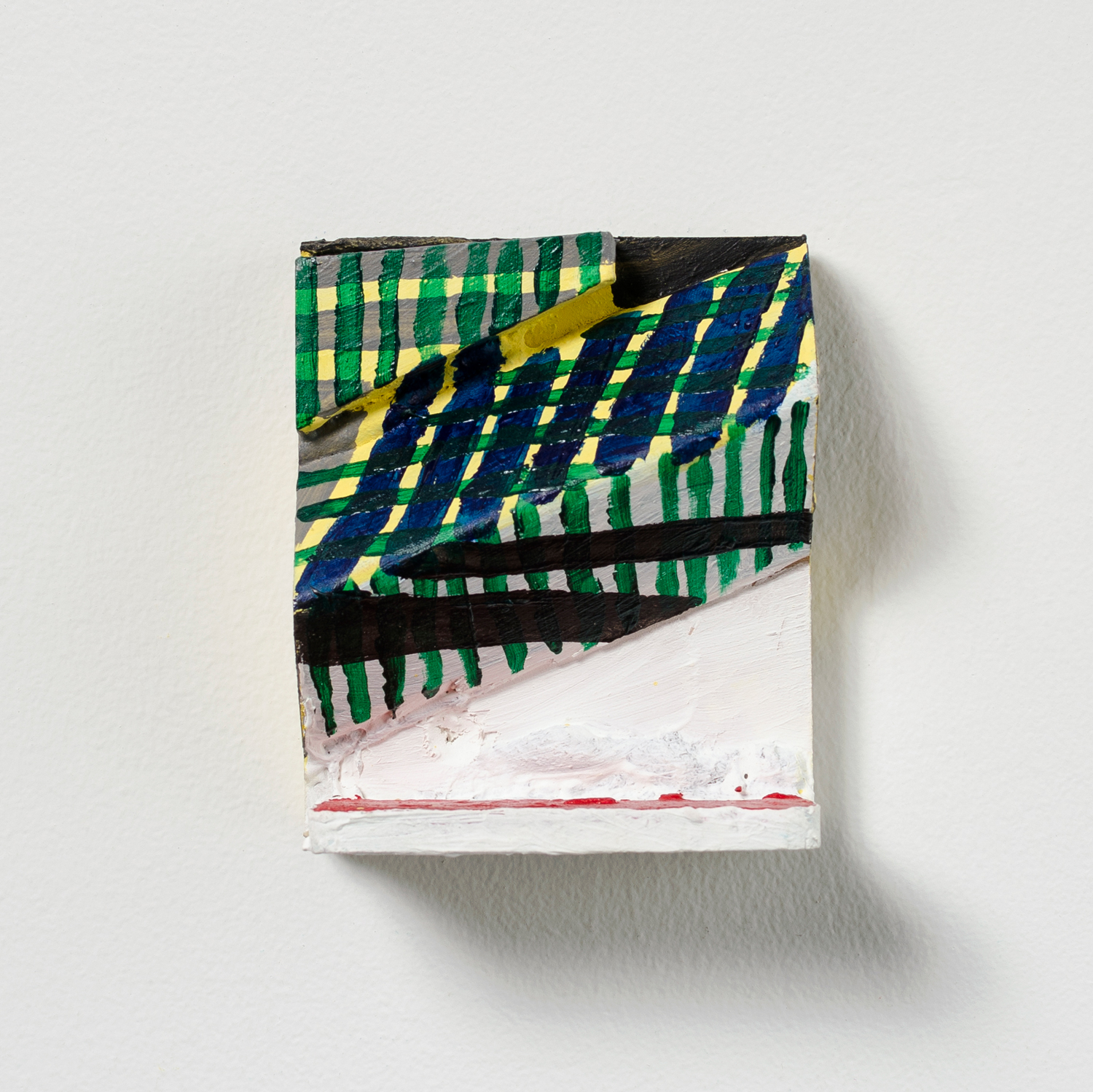 Green Weave , 2015, acrylic and graphite on wood, 4.25 x 3.5 x 2 in