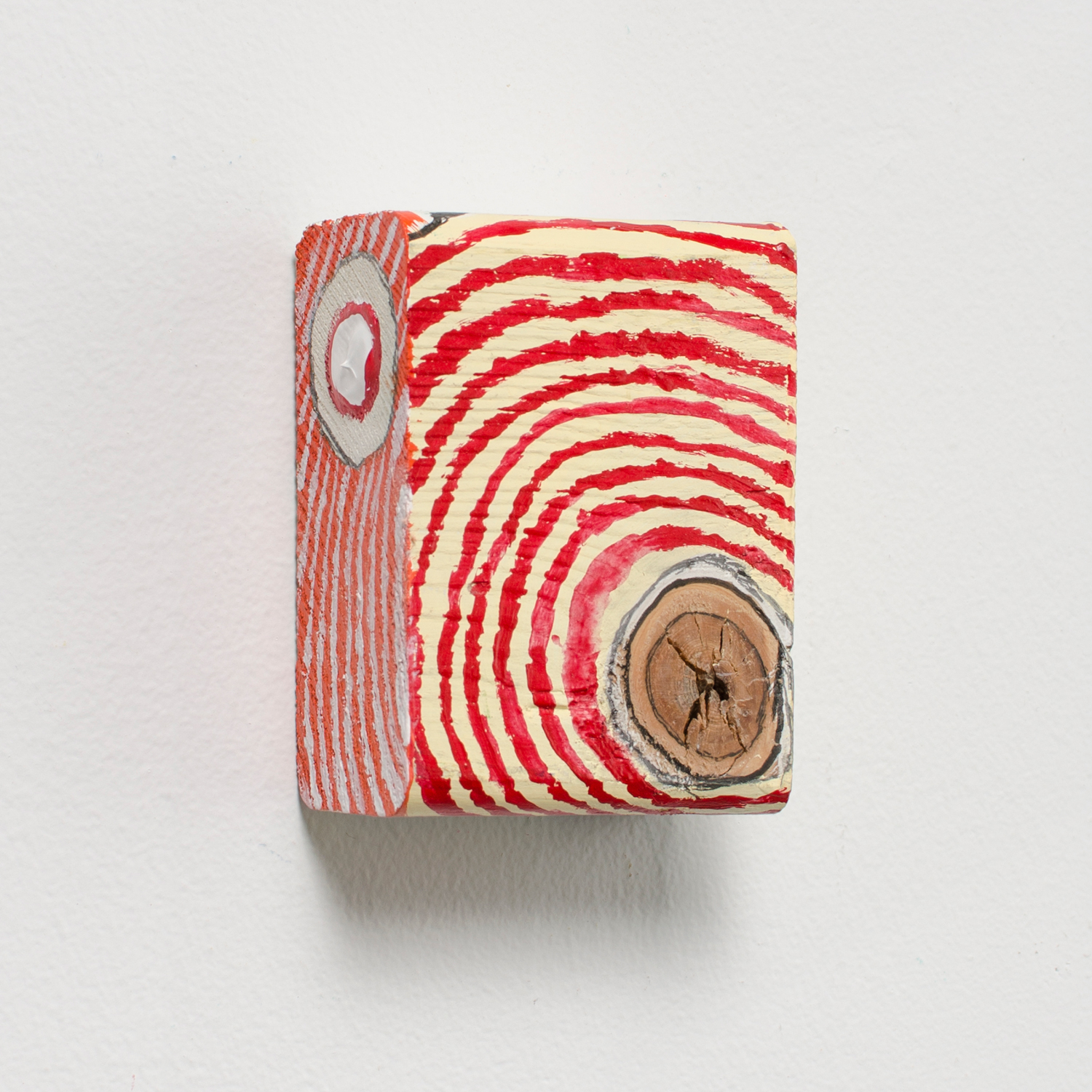 Red Core , 2016, acrylic and graphite on wood, 4 x 3.5 x 3 in