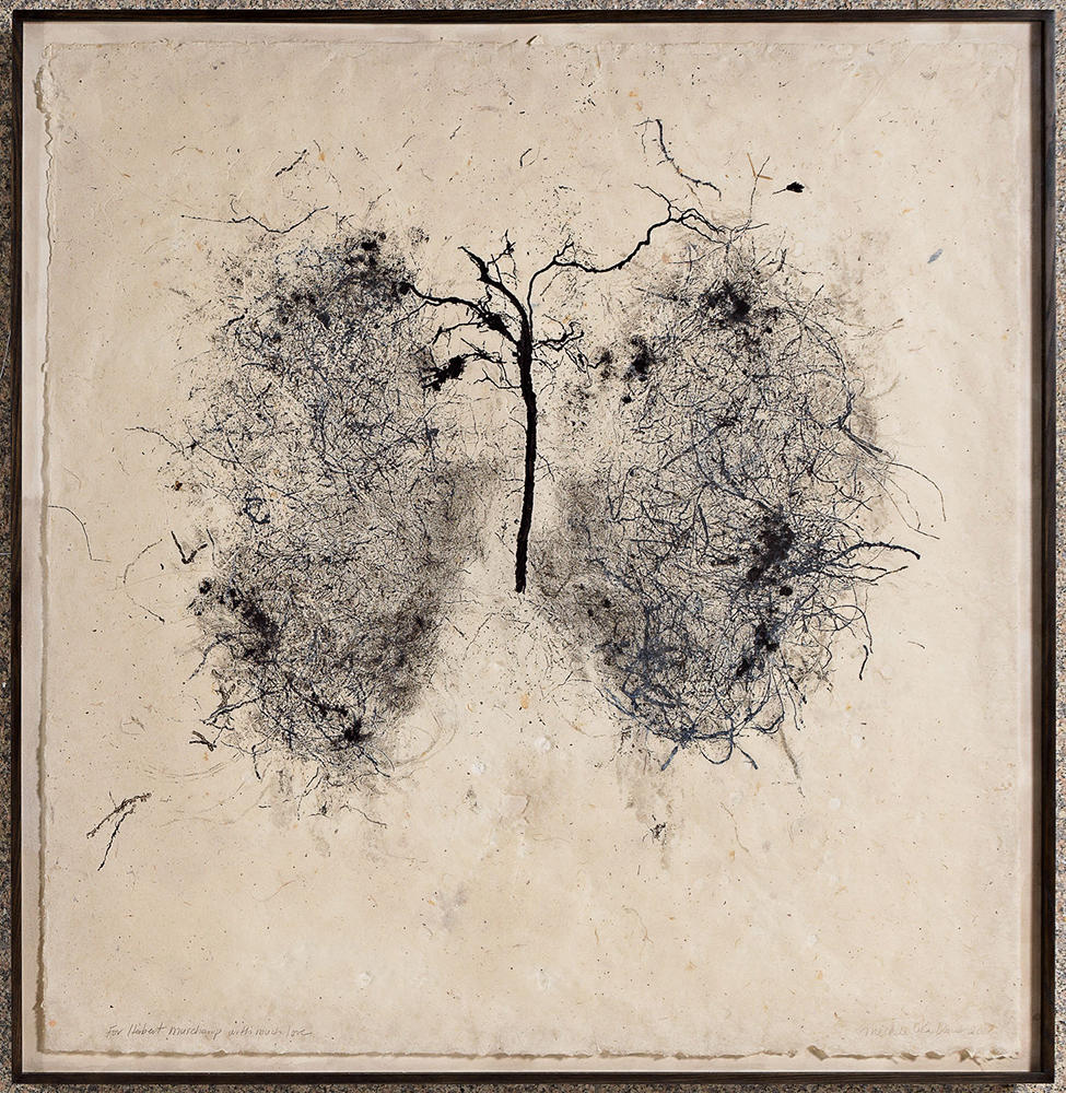 Lungs, (2007), Organic Material on abaca paper, 4 x 4 ft.