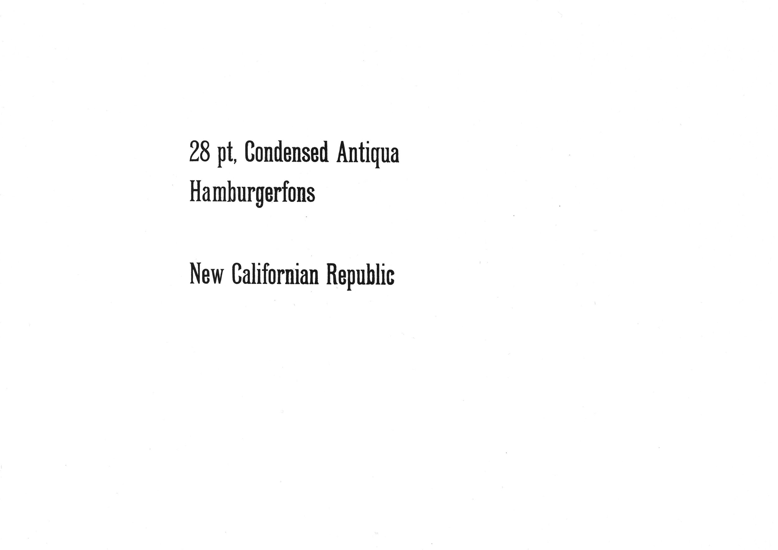 28pt. Condensed Antiqua