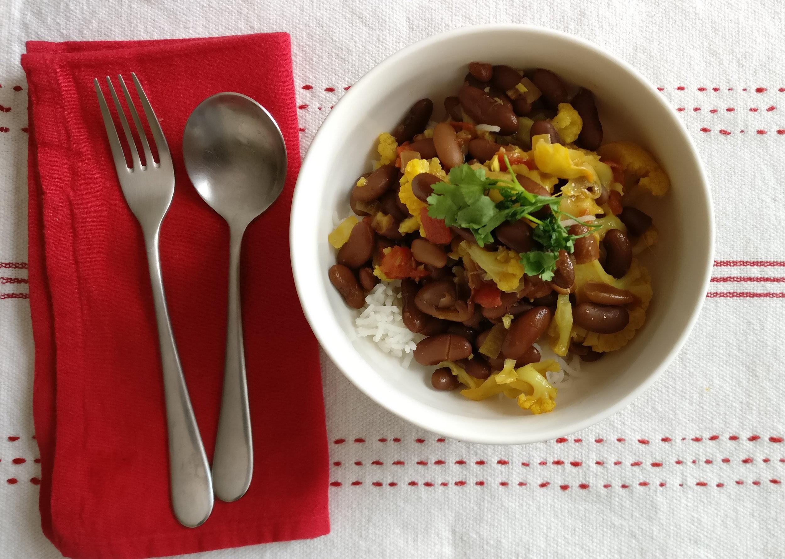 Kidney Bean Cauliflower Curry