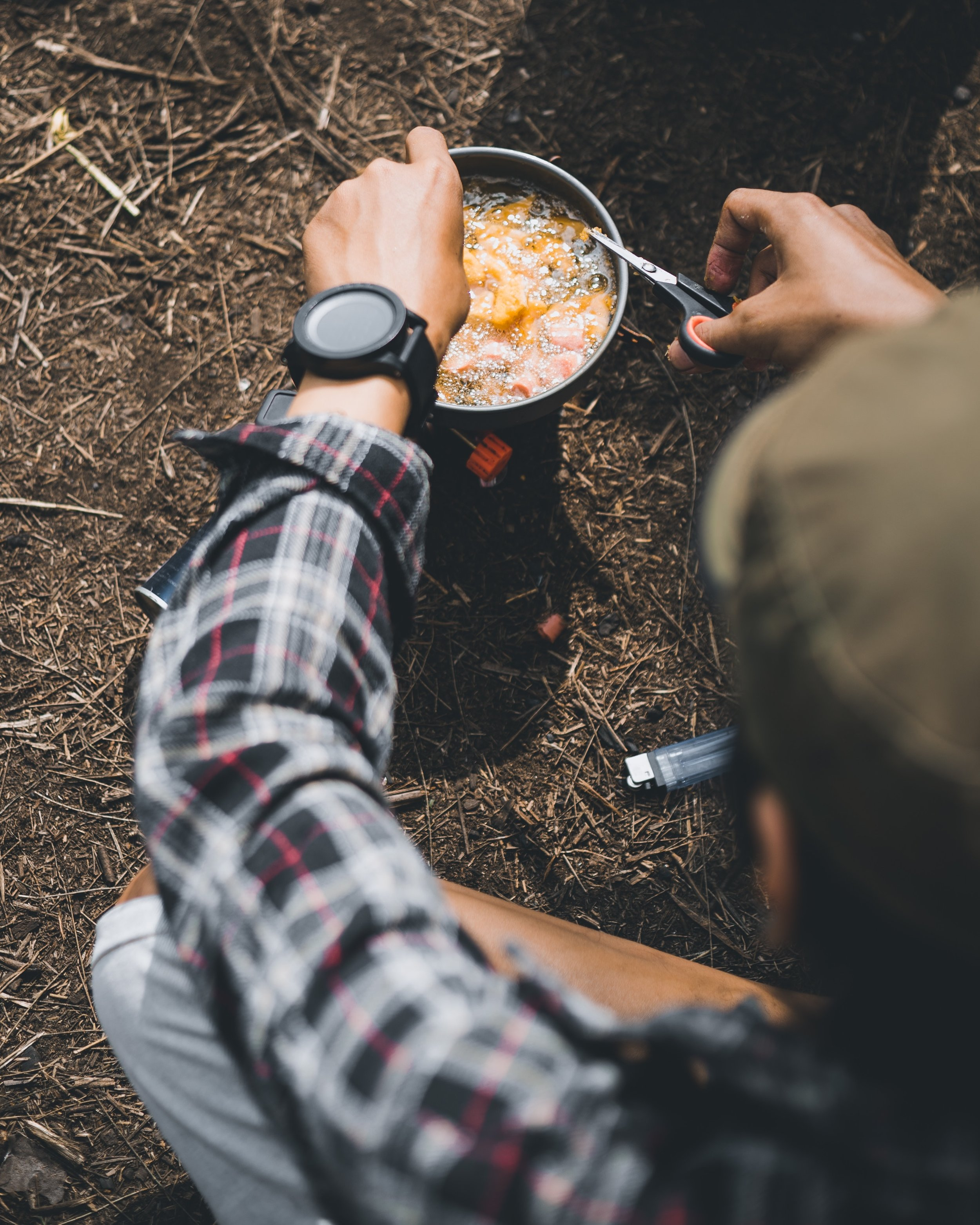 Sample Meal Plan for an Overnight Camping Trip - DINNERHearty soup or stew like this one with plenty of protein,with some cheese on the side (cheese packs a lot of calories per weight, and therefore makes great hiking/camping food) and some chocolate (preferably paper-wrapped) for dessertBREAKFASTCoffee, oatmeal with brown sugar and raisinsSNACKPeanut butter oat bars like these (peanut butter also has a great calorie-to-weight ratio)