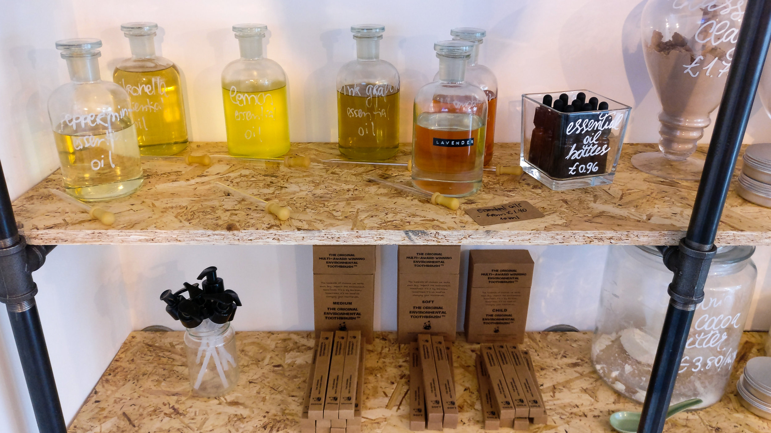 A selection of essential oils and plastic-free toiletries.