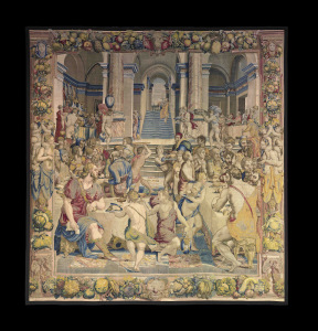 Joseph and his brothers , tapestry, design by Agnolo Bronzino and Raffaellino del Colle