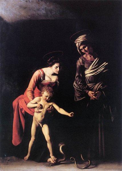 Madonna and Child with St. Anne , Michelangelo Merisi da Caravaggio, 1605, Galleria Borghese, Rome