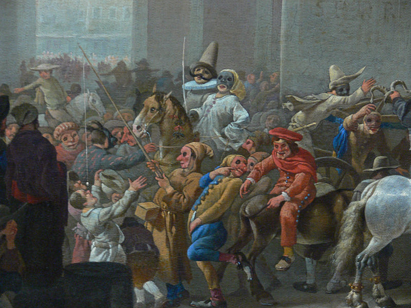 Detail from  Carnival in Rome,  Johannes Lingelbach, ca 1650