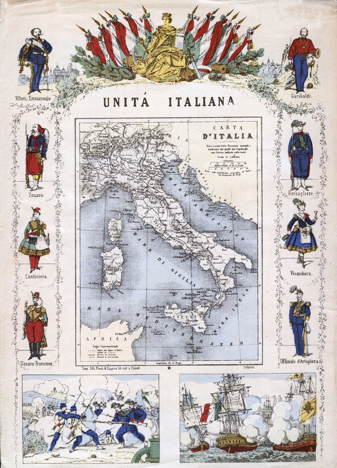 Italian Unity, Map of Italy,    Pinot and Segaire. ca 1861