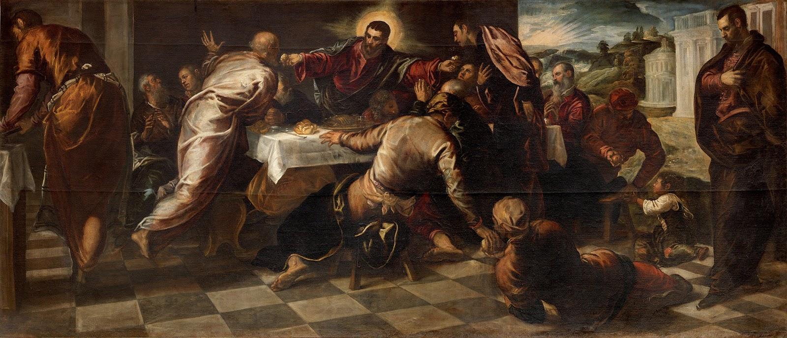 Last Supper , Tintoretto, 1568-69. Chiesa di San Polo, Venice