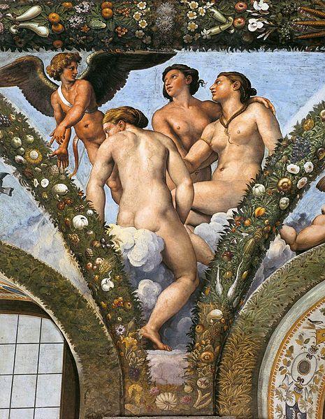 Cupid and the three graces , Giulio Romano