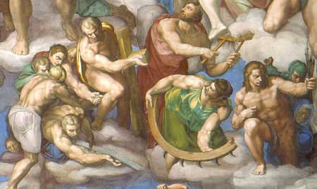 Detial from  The Last Judgement,  Michelangelo Buonarroti, 1536-1541, Cappella Sistina, Musei Vaticani, Città del Vaticano,   [Source]