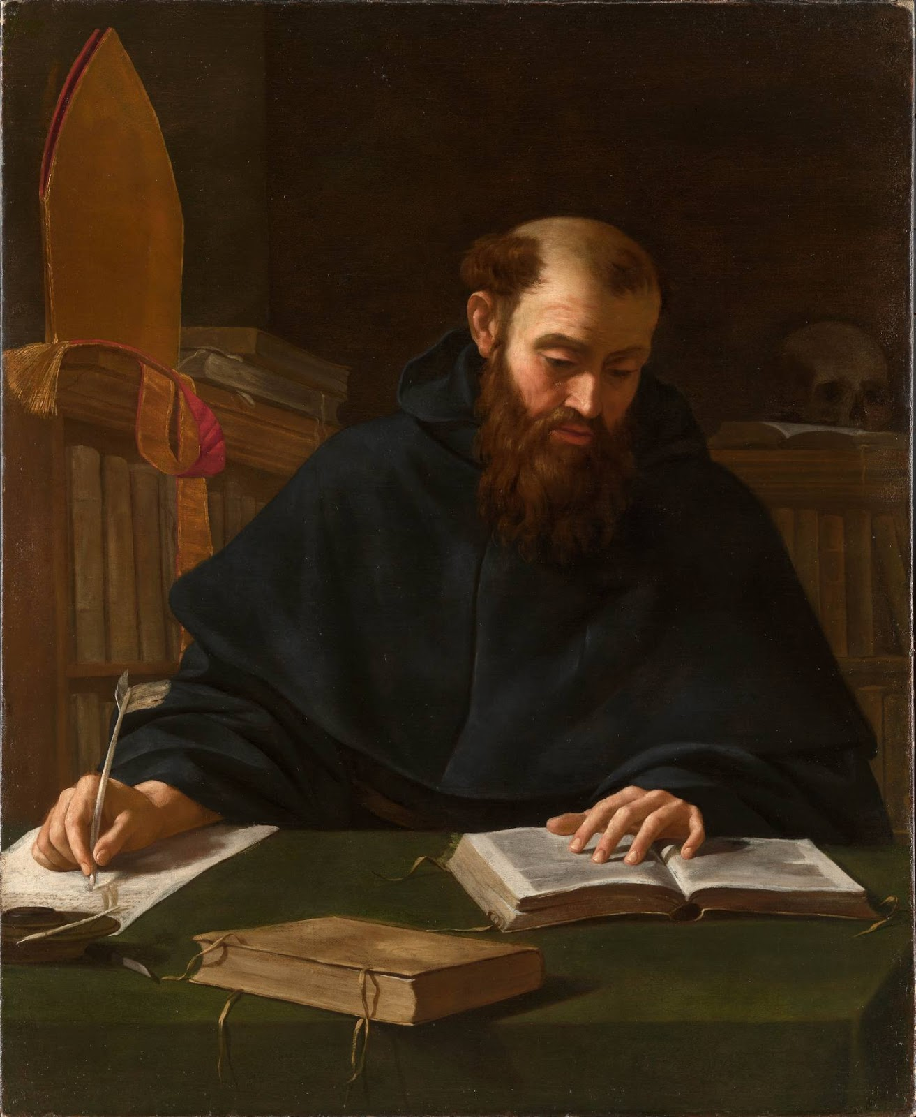 Saint Augustine in his Study , attributed to Caravaggio by some (clueless, in my opinion) scholars
