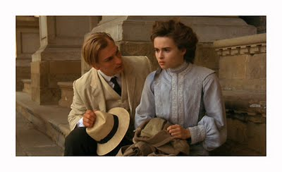 Freeze frame from  A Room with a View , Julian Sands and Helena Bonham Carter