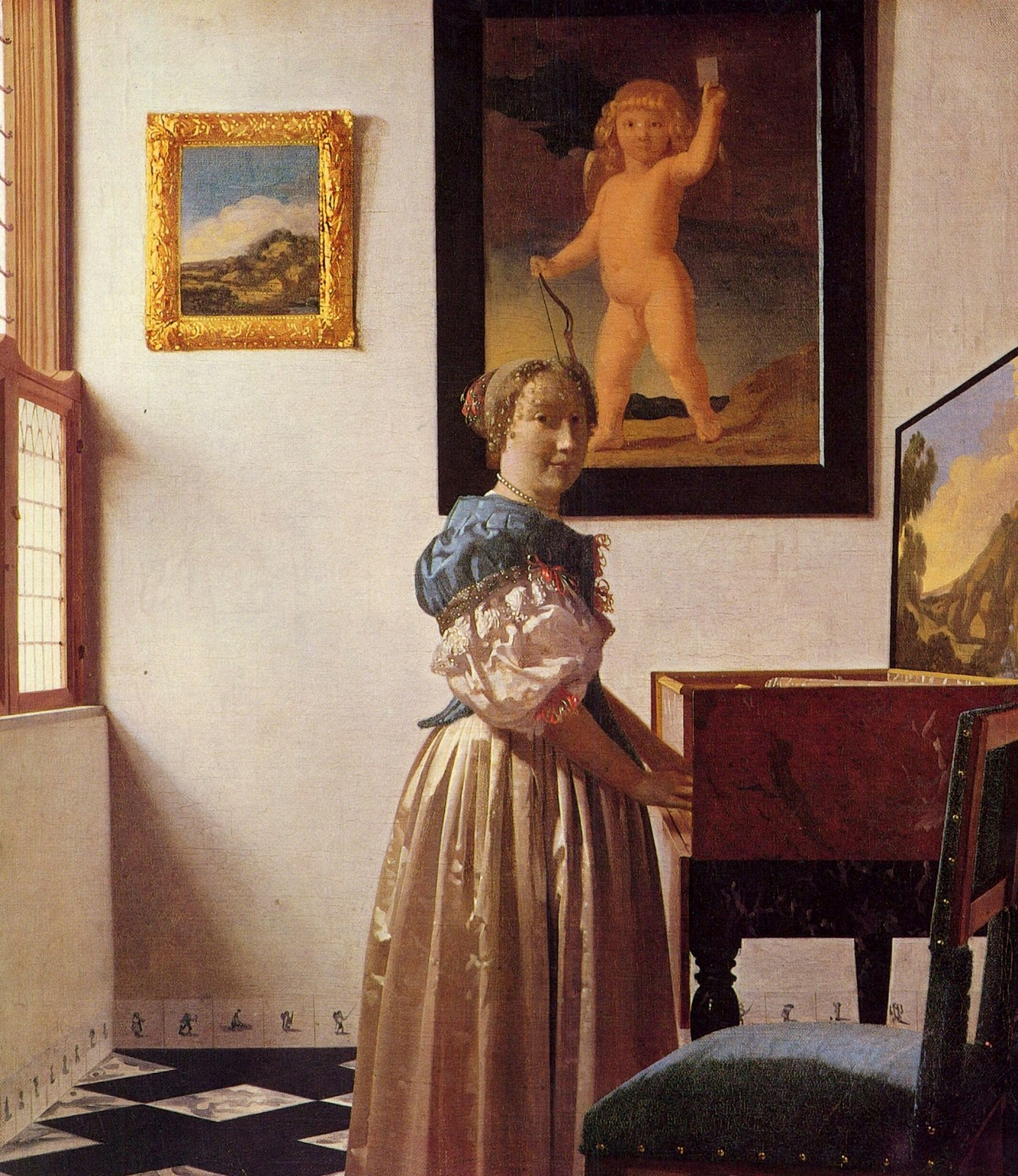 Young Woman Standing at a Virginal , Johannes Vermeer, 1670-73, National Gallery, London