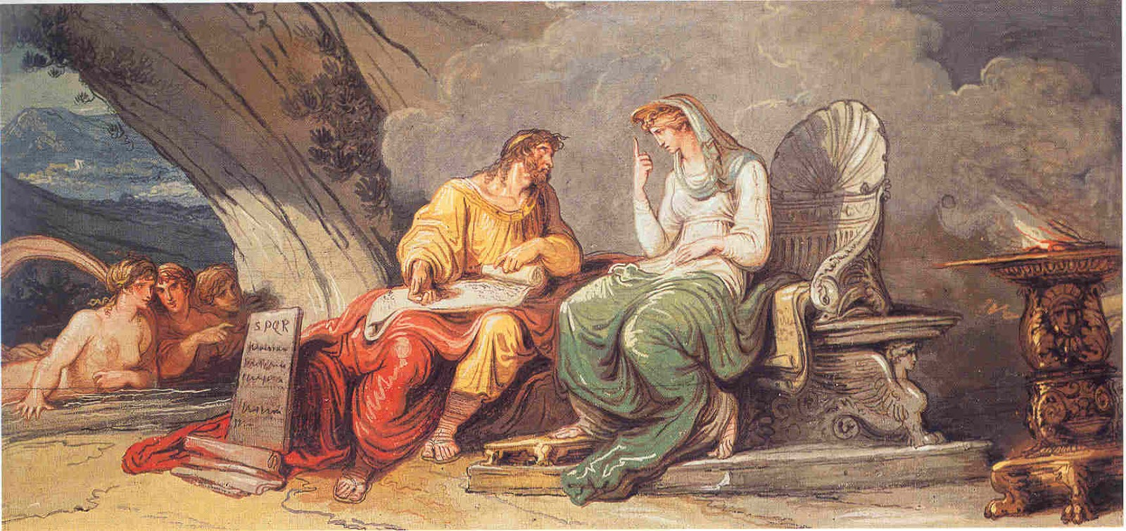 Egeria Gives the Laws of Rome to Numa Pompilius , Anna Ottani Cavina, Spanish Embassy to the Holy See, Rome, 1806.