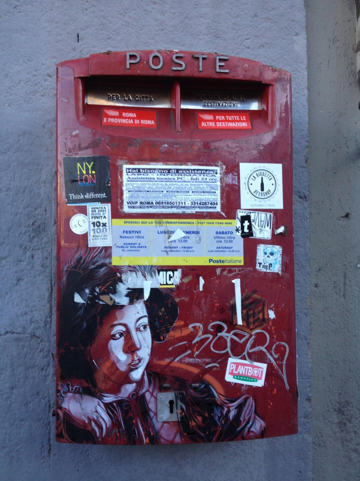 Mailbox in Trastevere with Caravaggio stencil, © Tiffany Parks