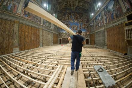 Sistine chapel floor platform for Conclave