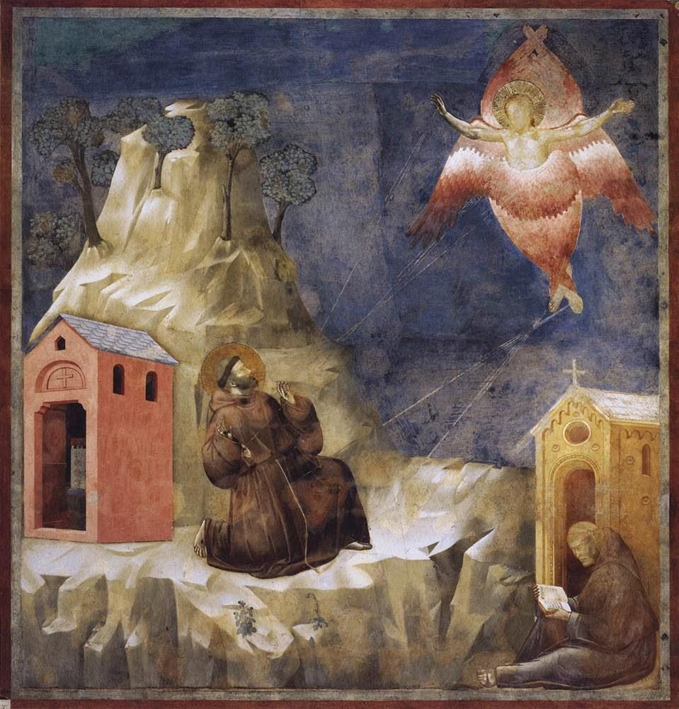 San Francis receives the Stigmata , Giotto. Basilica of San Francesco d'Assisi, Assisi. [ source ]